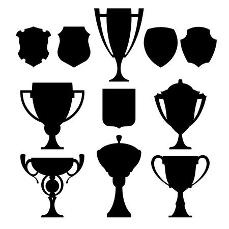negro campeón de la copa y el escudo de armas Ilustración de vector