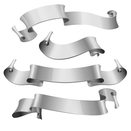 silver glossy ribbons on a white background