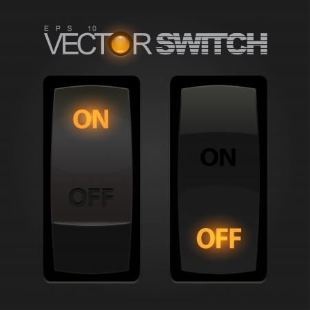 boton on off: Enfriar el interruptor de palanca realista Vectores