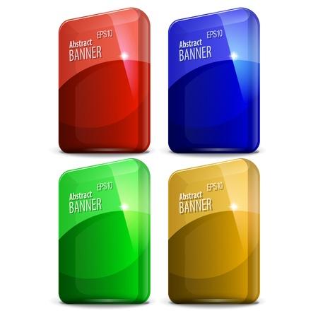 multicolored glossy label rectangular shape Stock Vector - 14439568