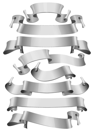 silver: silver glossy ribbons on a white background   Illustration
