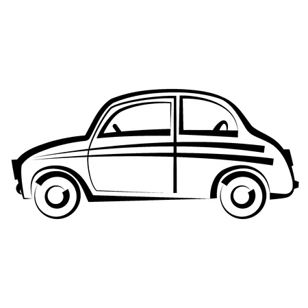 freehand drawing: Car  freehand drawing  icon black illustration