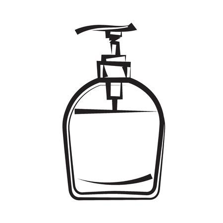 productos de aseo: Dispensador de jab�n a mano alzada de dibujo e ilustraci�n icono negro blanco Vectores