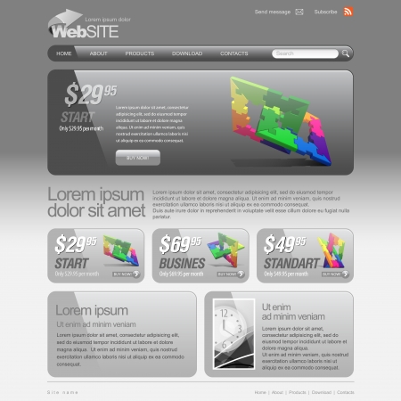 web icons communication: Gray Website Template 960 Grid