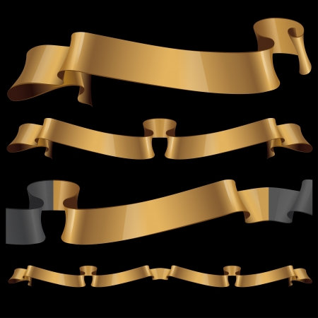 ancient scroll: Gold glossy ribbons on a black background