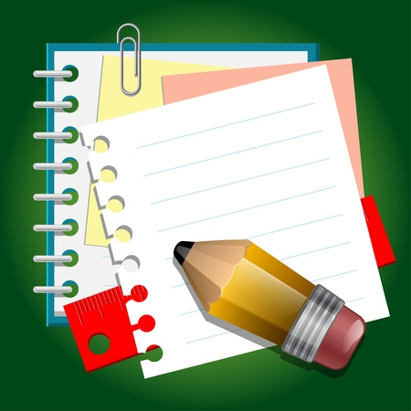 clip art draw: School paper notes