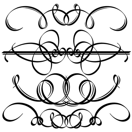 Black calligraphic elements  Vector illustration Illustration