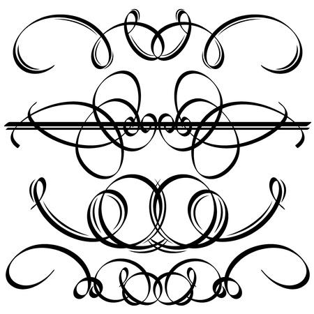 tattooing: Black calligraphic elements  Vector illustration Illustration
