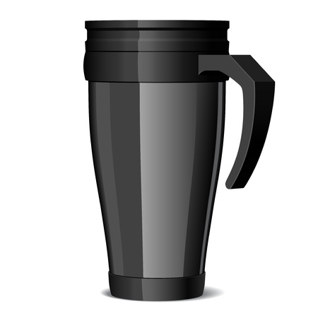 Shiny black Metal travel thermo-cup Vector