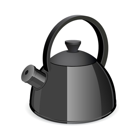 kitchen appliances: An isolated black tea kettle on a white background