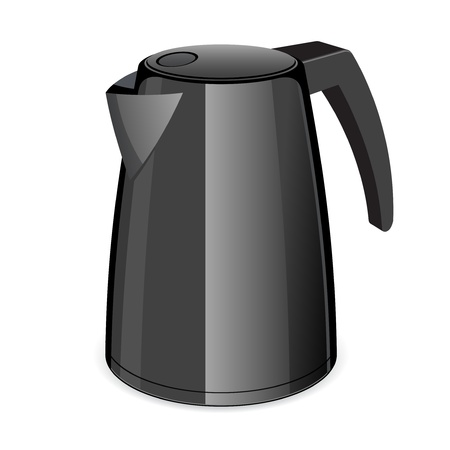 electric tea kettle: An isolated black electric tea kettle