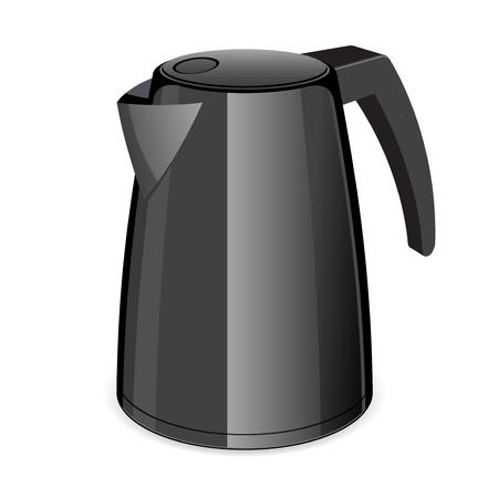 An isolated black electric tea kettle Stock Vector - 14936845