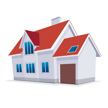 buy house: home with garage  Vector Illustration  icon