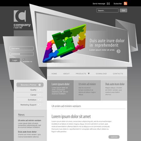 website template: Gray Website Template 960 Grid