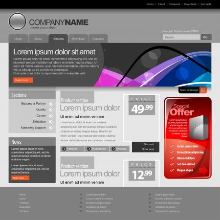 Gray Website Template 960 Grid Stock Vector - 15589695