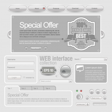 Light Web UI Elements Design Gray  Stock Vector - 15589694