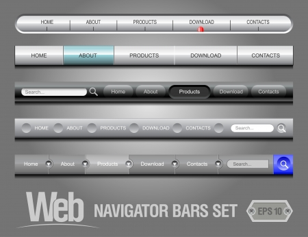 silver bar: Web Elements Navigation Bar Set