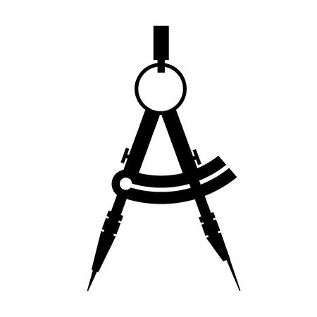 arquitecto: brújula icono negro y blanco vector