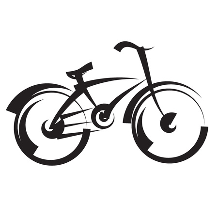 mountain bicycle: bicicletta disegno a mano libera vettore in bianco e nero Vettoriali
