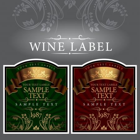 french label: etiqueta del vino con una cinta de oro Vectores