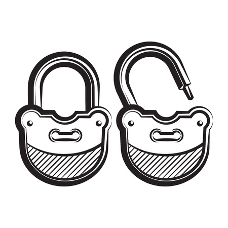 guard duty: lock icon black and white vector illustration