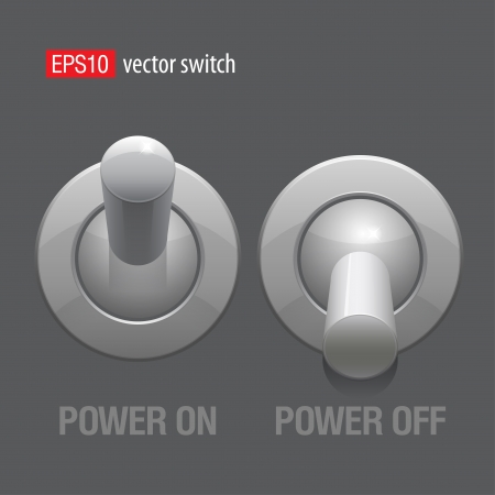 shutdown: Cool Realistic Toggle Switch grey color  Vector Illustration