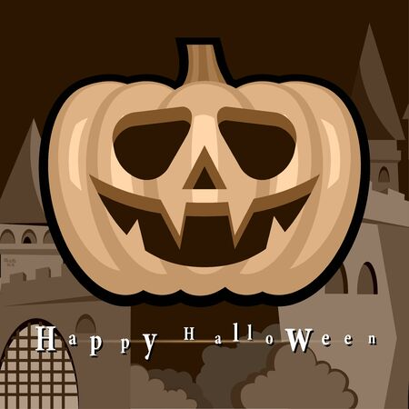 Halloween Party Background with Pumpkins Vector