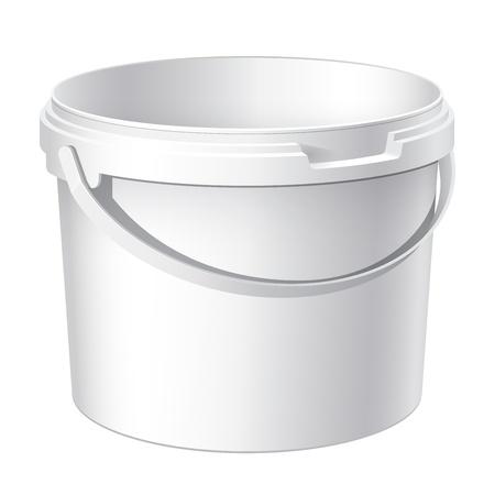 버킷: 현실적인 흰색 플라스틱 물통 쿨. 음식, 식료품 또는 페인트 제품 포장, 접착제, 실란트, 프라이머, 퍼티