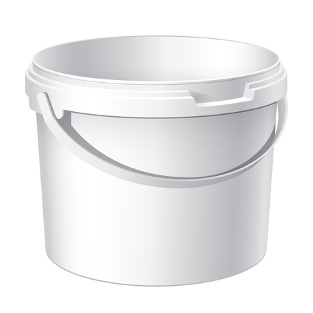 Cool Realistic White plastic bucket. Product Packaging For food, foodstuff or paints, adhesives, sealants, primers, putty Vector