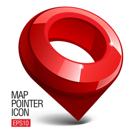 location: Shiny gloss red Map pointer icon.  illustration