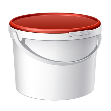 버킷: 차가운 현실적인 흰색 플라스틱 물통 벡터