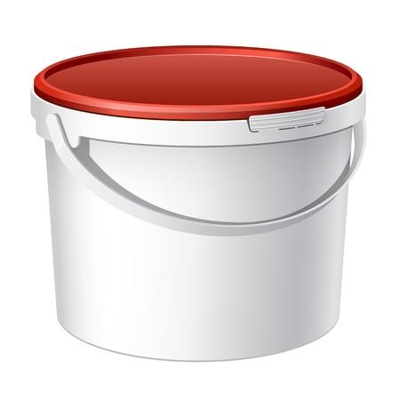 food container: Enfriar Realista Vector blanco cubo de pl�stico