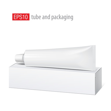 Realistic white tube and packaging