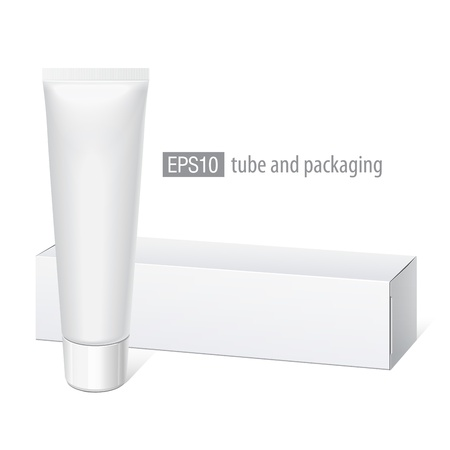 Realistic white tube and packaging  Stock Vector - 16161213