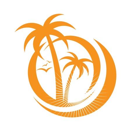 retro sunrise: palm tree emblems  icon sign  design element