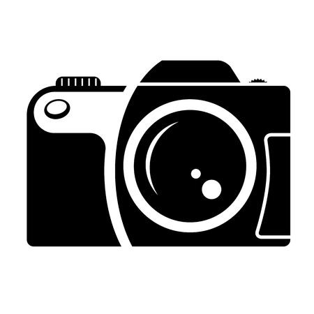 camera sign  black and white icon Stock Vector - 16358643