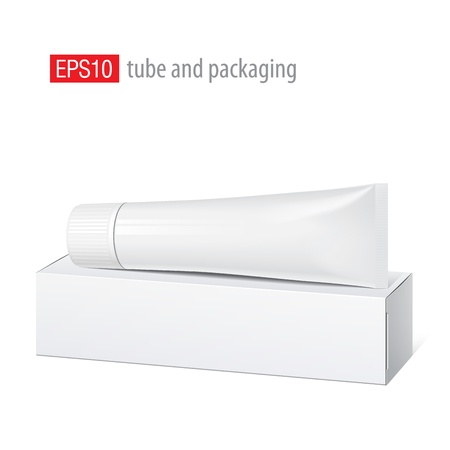 Realistic white tube and packaging Stock Vector - 16358696