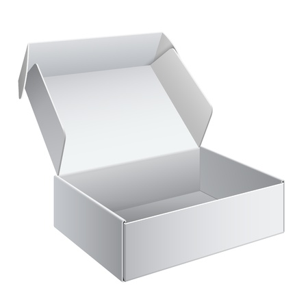 box template: White Package Box Opened  For electronic device