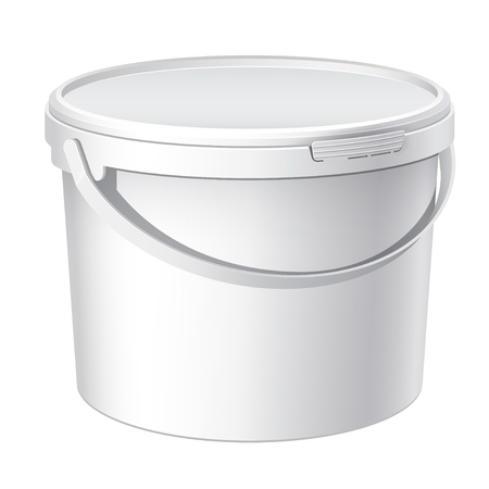 Cool Realistic White plastic bucket   Illustration