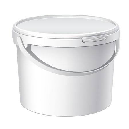 Refroidir réaliste seau en plastique blanc Vecteurs