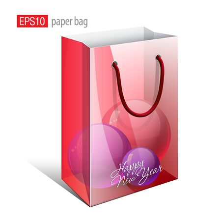 Red Paper Bag with a picture that simulates the inside is a Christmas Toys  Vector illustration  Ilustração