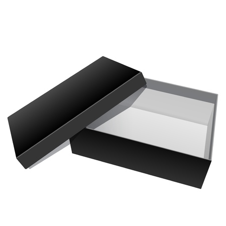 product innovation: Black blank Cardboard Package Box Opened with the cover removed  For shoes, electronic device and other products  Vector illustration