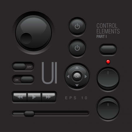 switches: Dark Web UI Elements  Buttons, Switches, bars Illustration