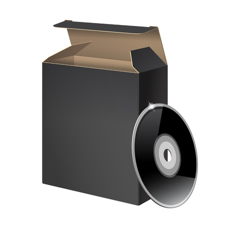 Black Glossy Package Box With DVD Vector