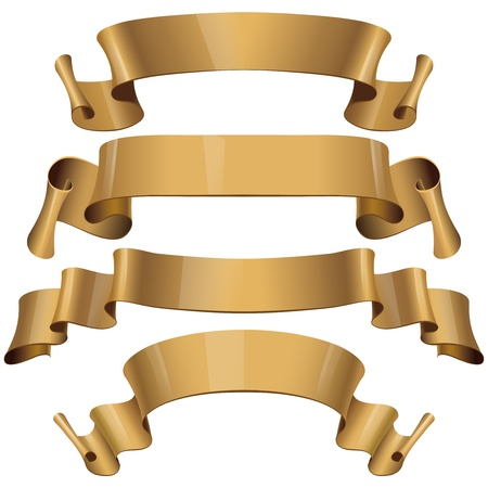 Gold Glossy ribbons on a white background Stock Vector - 17030045