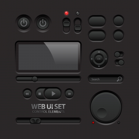webpage: Dark Web UI Elements  Buttons, Switches, bars Illustration