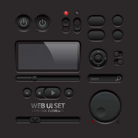 the switch: Oscuri Web Elementi di interfaccia pulsanti, interruttori, barre Vettoriali