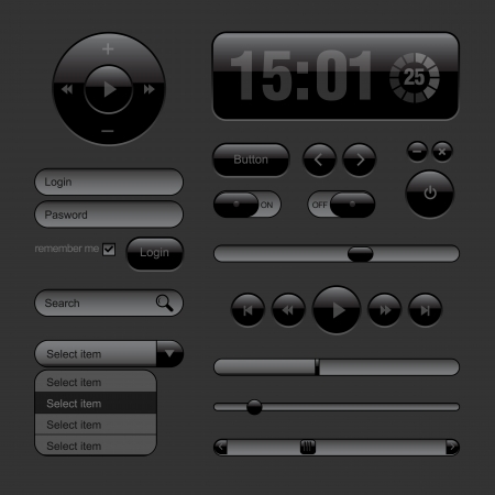 Dark Web UI Elements  Buttons, Switches, bars, power buttons, sliders  Part two  illustration Vector