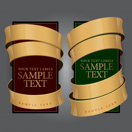 ruban or: Etiquette de vin avec un ruban d'or