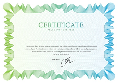 certificate template: pattern that is used in certificate, currency and diplomas